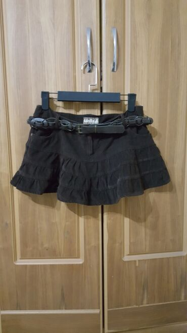 Мини юбка замш с ремнем темно коричневый размер 38-40 М короткая