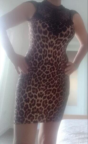Prelepa haljina, animal printa sa ciokom i vezivanjem oko vrata