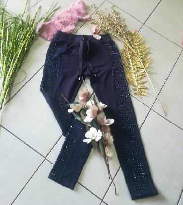Pantalone-italijinemaju-elastin - Srbija: Teget pantalone sa CIRKONIMA VEL S-M novo pamuk elastin veliko
