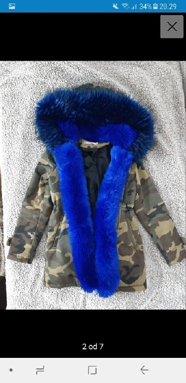 Ženske jakne | Nis: Zimska jakna, maslinasto zelena, militari dezen, sa velikim plavim