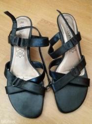 Braon kozne sandale broj pitajte - Srbija: Kozne sandale sa niskom stiklom, broj 39