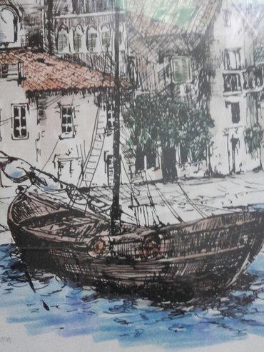 Umetnicka slika dimenzije 53×38 akvarel-grafika,u potpisu lola - Kikinda