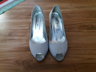 Srebrne italijanske cipelice sa stiklom u cirkoncicima,nosene,bez - Zajecar