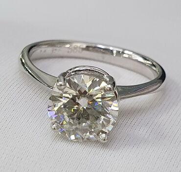 Кольцо из белого золота, 585 проба. Вставка бриллиант. Размер 58200