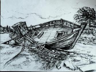 Akvareli  i crtezi perom dimenzija 42x35 cm  , idealni za poklon - Arandjelovac