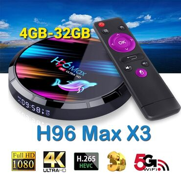 smart tv box - Azərbaycan: Tv box android smart tv box tuner.H96 max x3 8k 4/32gb android smart