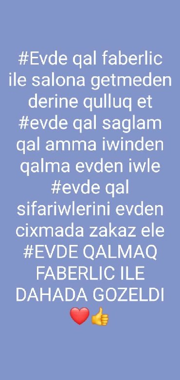 Поиск сотрудников (вакансии) в Азербайджан: Faberlıc le heyatiniz deyişın evıde oturarag pul qazanış ve sagılam