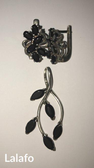 Серебрянный набор серьги и кулон в Бишкек