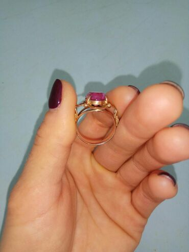Размер 16,5 Российская золото,проба 583 Советское кольцо Камень рубин