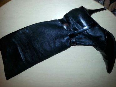 Crne elegantne kozne cizme sa mamuzom  i metalnim stiklom koza je kao - Belgrade