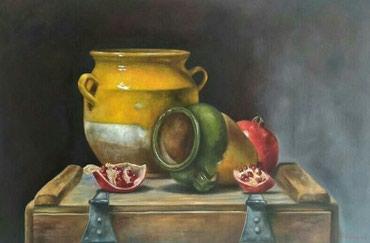 Umetnicka slika, ulje na platnu, mrtva priroda_60x40cm - Loznica