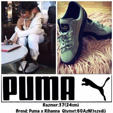 - Azərbaycan: Razmer:37(24sm) Brend:Puma x Rihanna Qiymet:60AzN(tezedi)