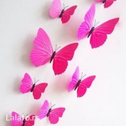 Slike   Zrenjanin: Dekorativni leptirici za zid. 100% nov i visok kvalitet. Set sadrži 12