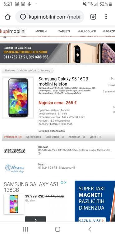 Mobilni telefoni - Sabac: Menjam samsung galaxy s5 15GB za nesto nudite