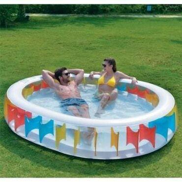 Ovalni bazen na naduvavanje 250x208x50 cm s čepom za ispuštanje vode