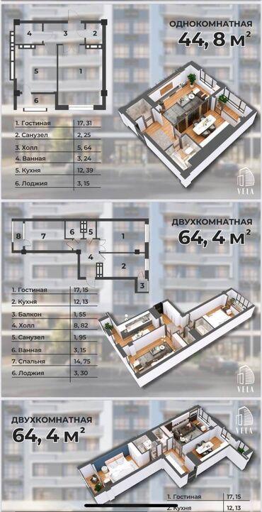квартира берилет шлагбаум in Кыргызстан   ДОЛГОСРОЧНАЯ АРЕНДА КВАРТИР: Элитка, 2 комнаты, 55 кв. м Бронированные двери, Лифт