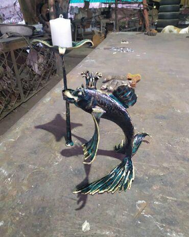 ходунки рыбки в Кыргызстан: Подсвечник золотая рыбка. Исполнит ваше любое желание.Ковка.Ручная