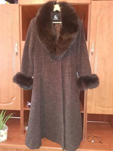 пальто лама в Кыргызстан: Пальто, лама с натуральным мехом. В идеальном состоянии. Производство