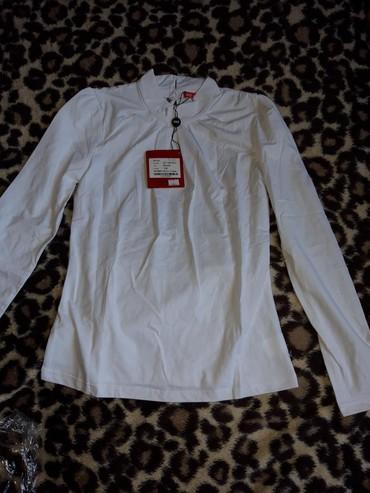 Школьные блузки - Кыргызстан: Белая блузка х/б стрейч сзади кружево!