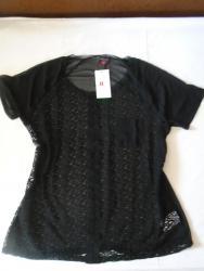 Tanana crna majica/bluza sa čipkom, providna lagana, idealna za leto. - Belgrade