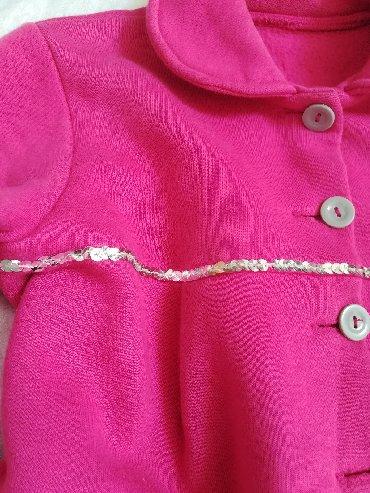 Dečije jakne i kaputi | Vranje: Pamučni pink sako sa srebrnom ranflom vel 8, sa džepovima sa mašnicom