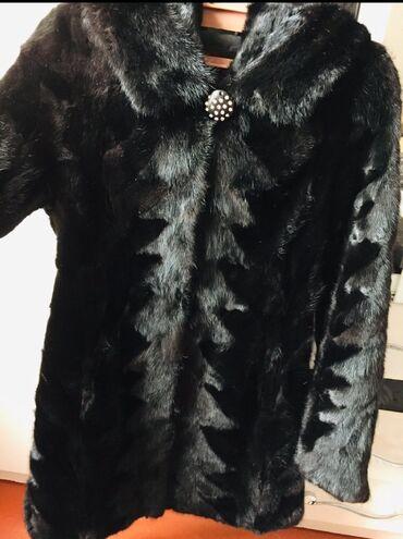 Норковая шуба с капюшоном, цвет чёрный, размер 42-46. Состояние идеаль