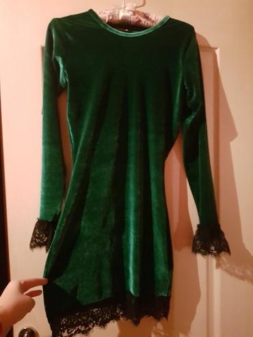 Zelena plisana haljina sa cipkom. Velucina S - Belgrade
