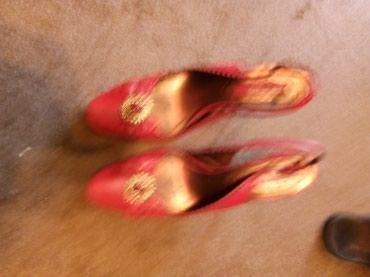 Tamno crvene sandale i radna,marke:Mina-kozna,sa lancem i - Kragujevac