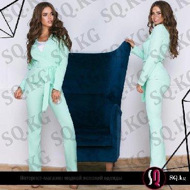 Брючный костюм женский вечерний - Кыргызстан: Женский брючный костюм тройка (пиджак на поясе + майка + брюки клеш)