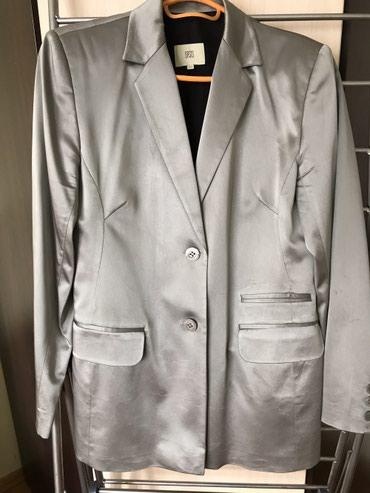 Пиджак женский, стального цвета, размер:46, б/у в Бишкек
