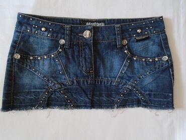 Teksas suknjica - Srbija: Original DSQUARED2 mini suknjica od teksasa sa metalnim nitnicama, M