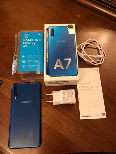 Samsung s 5 - Azərbaycan: İşlənmiş Samsung Galaxy A7 2018 64 GB göy