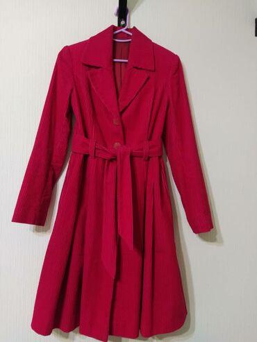 Пальто-плащ из х/б вельвета крупный, шикарный вид и цвет,одевалось