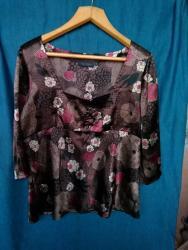 блузки с коротким рукавом в Кыргызстан: Блузка атласная, 50-52 размер. Приятная к телу. 3/4 рукав