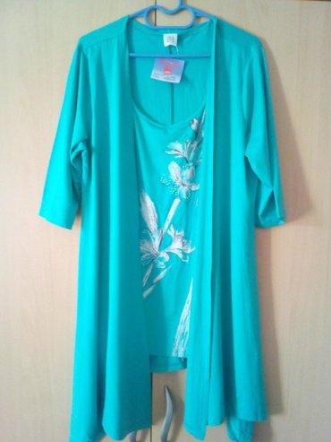 Novo!!! Ženska tunika-kardigan br.46, dva u jednom, tirkizno plave