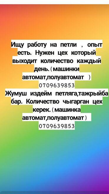 Другие специальности - Кыргызстан: Ищу работу на петли опыт есть. Нужен цех который выходит количество