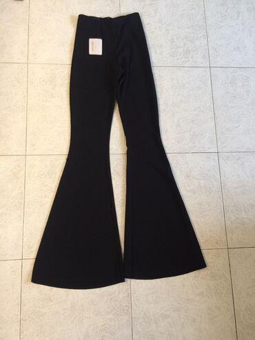 Μαύρο ελαστικό παντελόνι καμπάνα με φερμουάρ  Ολοκαίνουργιο με ετικέτα