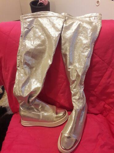 Ženska obuća | Crvenka: Preslatke srebrne cizmice iznad kolena br.36