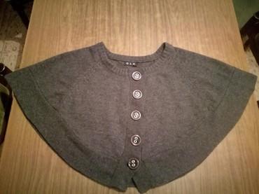 Ponco vuna akril - Srbija: Kratki ponco,siva,kao nov,vuna 50%,acrilic 50%