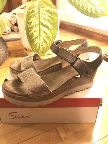 Safran ženske sandale sampanj boje visina pete 6cm veličina 41