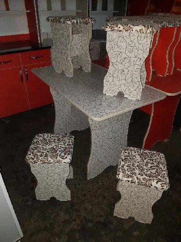 стол на кухню раскладной в Кыргызстан: СТОЛ 4шт СТУЛЬЯ ДИЛИНА СТОЛА 1,10см ШИРИНА 65см 3000сом ДОСТАВКА МНОГО
