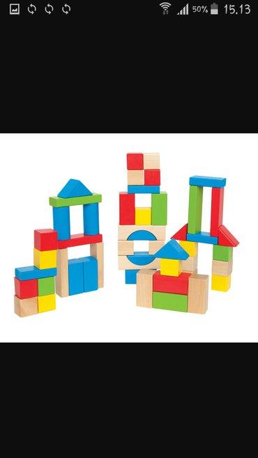 drvene kocke u vreći, geometrijski oblici za decu od 2-6 godina, 80kom - Velika Plana