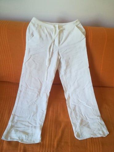 Bele lanene pantalone za leto vel 36, obim struka 74 cm, dužina 96+8
