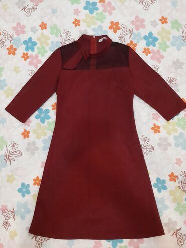 Платье на девочку 10-12 лет,бордовое,сзади замочек потайной,рукав