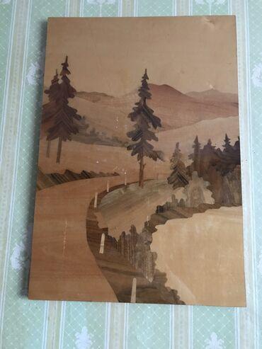 Картина,из разных пород дерева без краски,покрытия лаком.Ценная