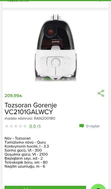 Tozsoran Gorenje Tam zəmanətləNəğd və 1 kartla ödənişEvdən birbaşa