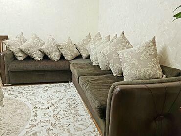 """Диваны в Кыргызстан: Диван в зал с подушками. """"Г"""" образный, раскладной. В отличном"""