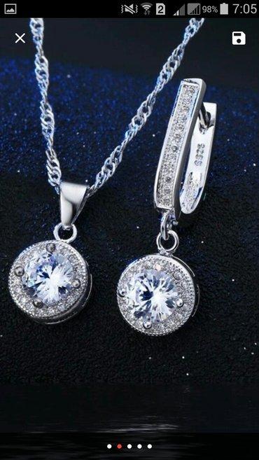 Bakı şəhərində Gümüş, tək qaş kamplekt , Svarovski qaşlarla işlənib.