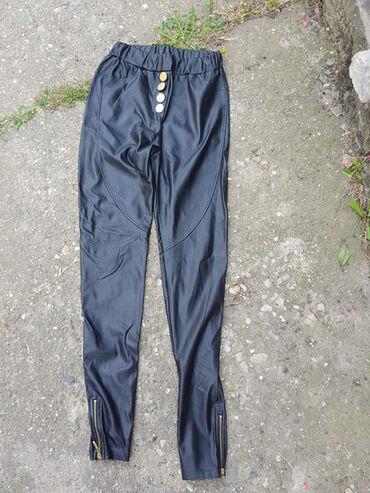 Crne pantalone - Srbija: Kožne pantalone, kao nove, obučene dva puta, deblji je model, kako