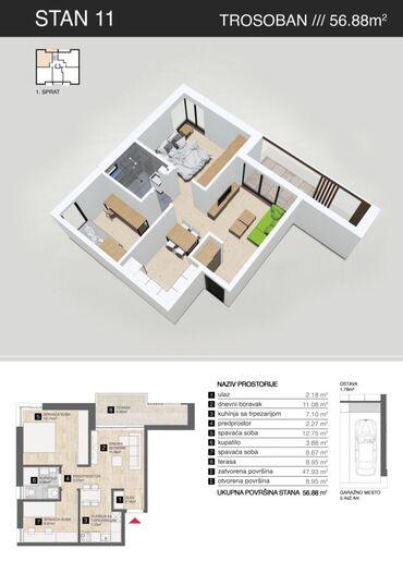 Brilliance bs6 2 mt - Srbija: Apartment for sale: 2 sobe, 57 kv. m